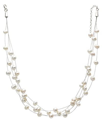 Dew Women's Sterling Silver and Multi-Strand with Freshwater Pearls and Swarovski Crystal Beads Necklace of Length 18 inch eefYwFLH