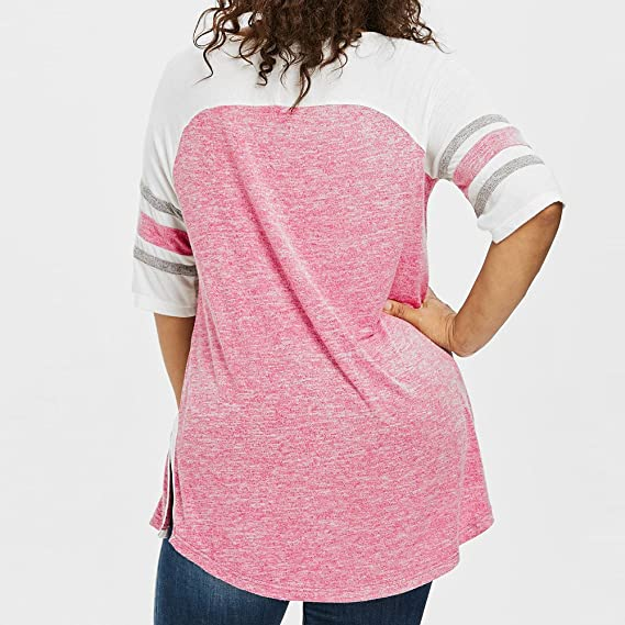 milktea Mujer Tops Blusa New Trend Mujeres Casual gemütlich Tops Blusa Vendajes Plus Size Top Patchwork - Camiseta Blusa blanco Hot Pink XL/46-48: ...