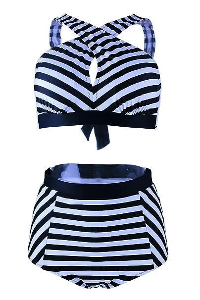 0834f758cff Gotswim Stylish Black   White Strip High Waist Bikini Cross Bandage Push up  Swimsuit for Women