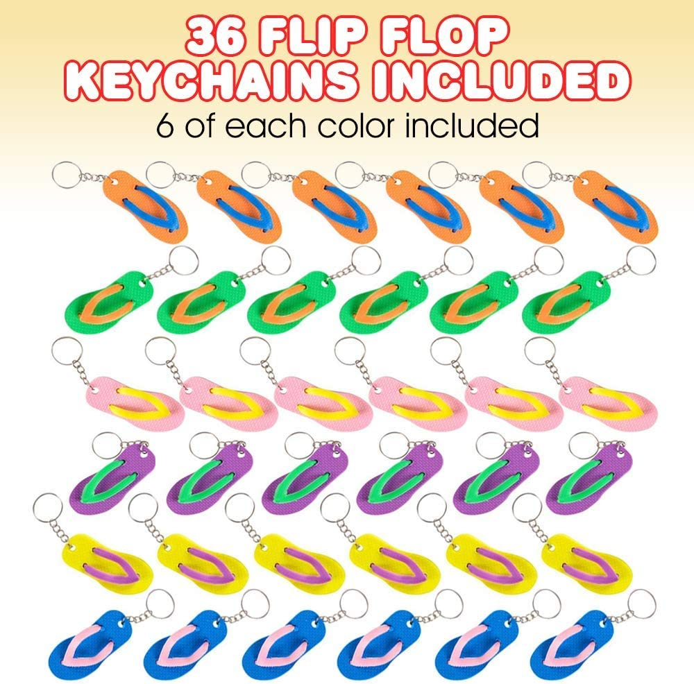 Purse Beach Fun Key Chains for Backpack Cool Goody Bag Fillers and Small Prizes for Kids Luau and Pool Parties Set of 36 Great Giveaways for Birthday ArtCreativity Flip Flop Keychains Luggage