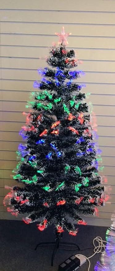 FunkyBuys® Tall 3ft Black Fibre Optic Christmas Xmas Tree w ...