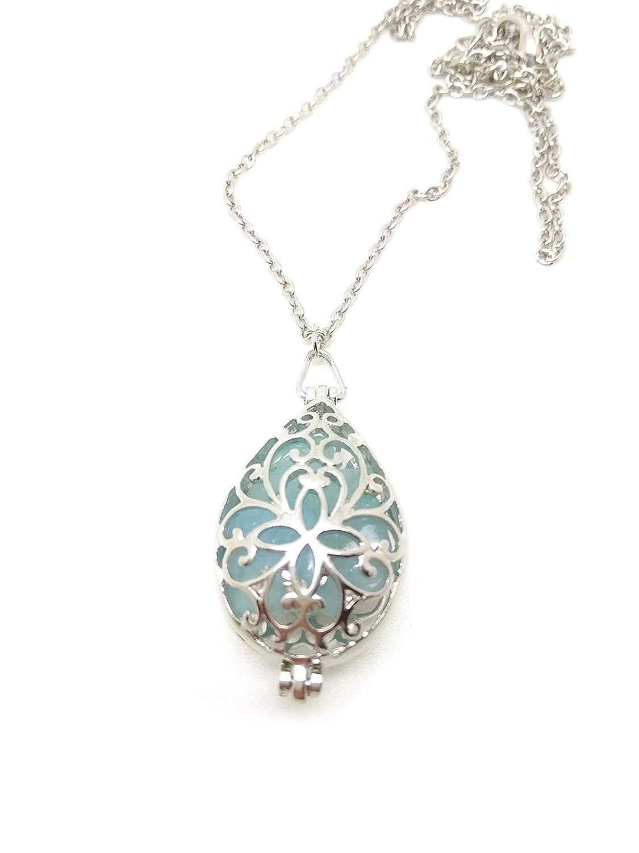 Amuleto talismán collar Relicario de piedras preciosas con aguamarina natural