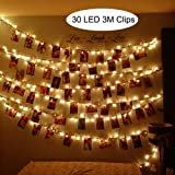 MHtech 30 LED Photo Clips String Lights, 10 Ft LED Clips Lights Warm White Battery Powered Fairy Lights LED for Hanging Photos Pictures Cards Artwork and Memos (10ft Warm White)