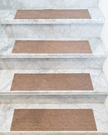Handmade Stair Treads Carpet Set of 13 Polyester Chocolate Natural Area Rugs Halton 9x29