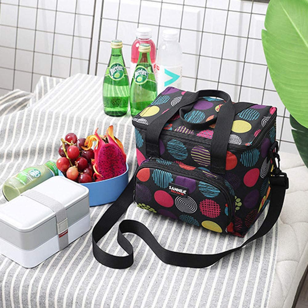 Lunch Bag,nikunLONG 10L Insulated Cooler Lunch Bag Camping Picnic Box Shoulder Thermal Double Layer One Size, Type3