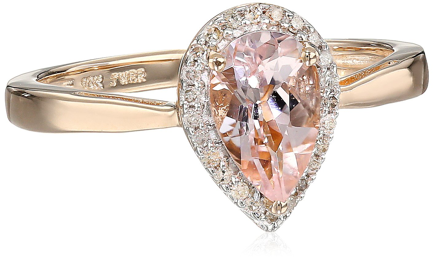 10K Rose Gold Morganite Pear with Diamond Halo Ring, Size 8