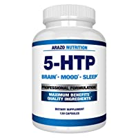 5-HTP 200 MG Plus Calcium for Mood, Sleep, Anxiety - Boosts Serotonin Production - 99% High Purity – 120 Capsules – Arazo Nutrition USA