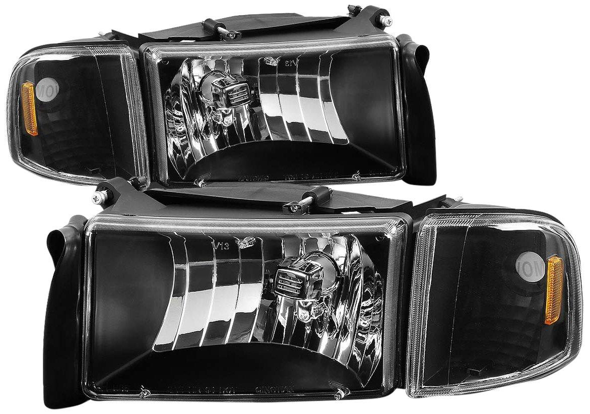 DNA MOTORING HL-OH-DR944P-BK-AM Headlight Assembly Driver and Passenger Side, Black/Amber