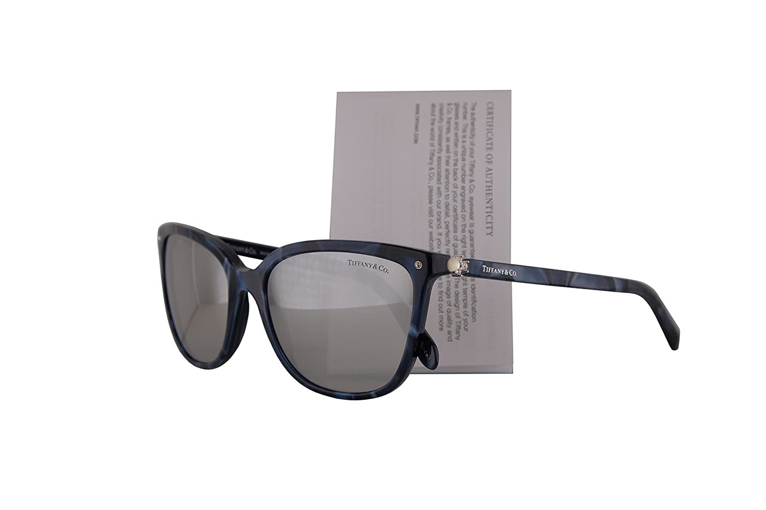 d1ce9e0fe01 Amazon.com  Tiffany   Co. TF4105HB Sunglasses Blue Shell w Light Grey  Mirror Silver Lens 55mm 82006V TF4105-H-B Tiffany Co. TF 4105HB TF 4105-H-B   Clothing