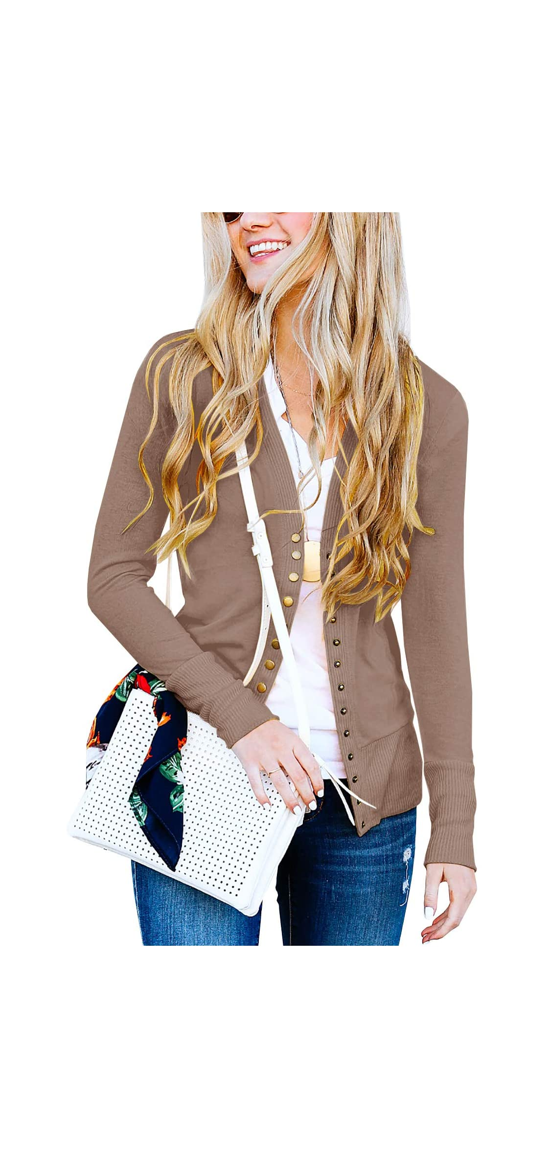 Women's V-neck Button Down Knitwear Long Sleeve Soft Knit