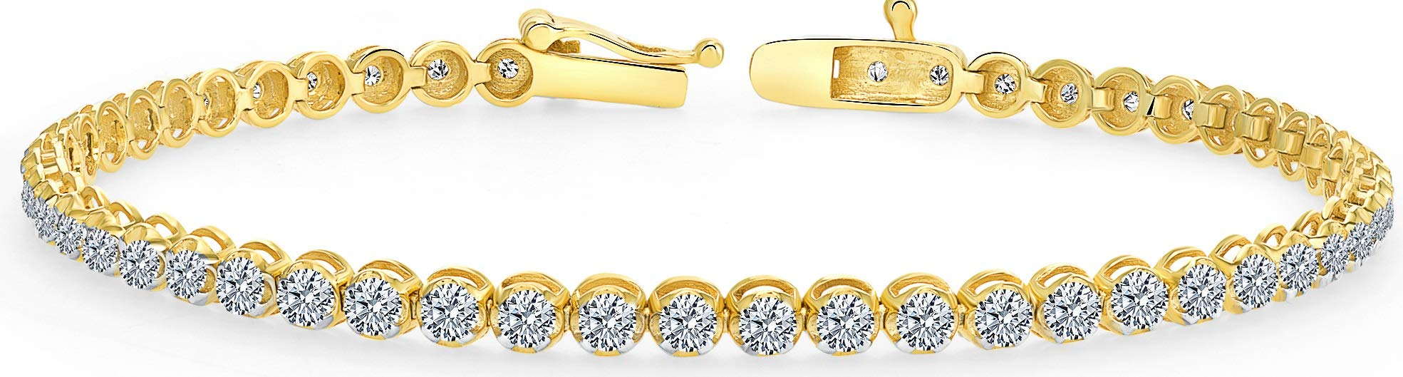 Beverly Hills Jewelers 1.00 Carat tw Beautiful Yellow Gold Round Brilliant Cut Shiny White (I Clarity) Diamond Ladies Tennis Bracelet.Secure Double Clasp. Bracelet Box Included.
