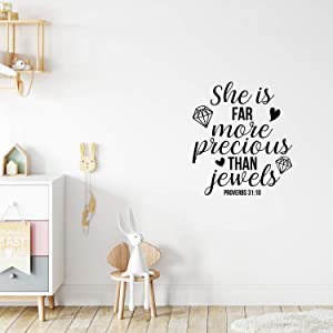 "Vinyl Wall Art Decal - She is Far More Precious Than Jewels - 25"" x 22"" - Icons Design Trendy Inspirational Quote Sticker for Girls Bedroom Living Room Kids Room Home Office Decor (Black)"