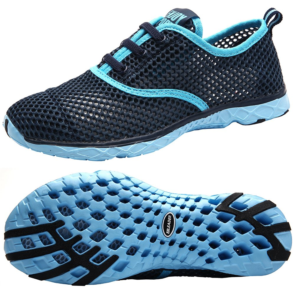 Aleader Women's Quick Drying Aqua Water Shoes, Blue 9 B(M) US by ALEADER