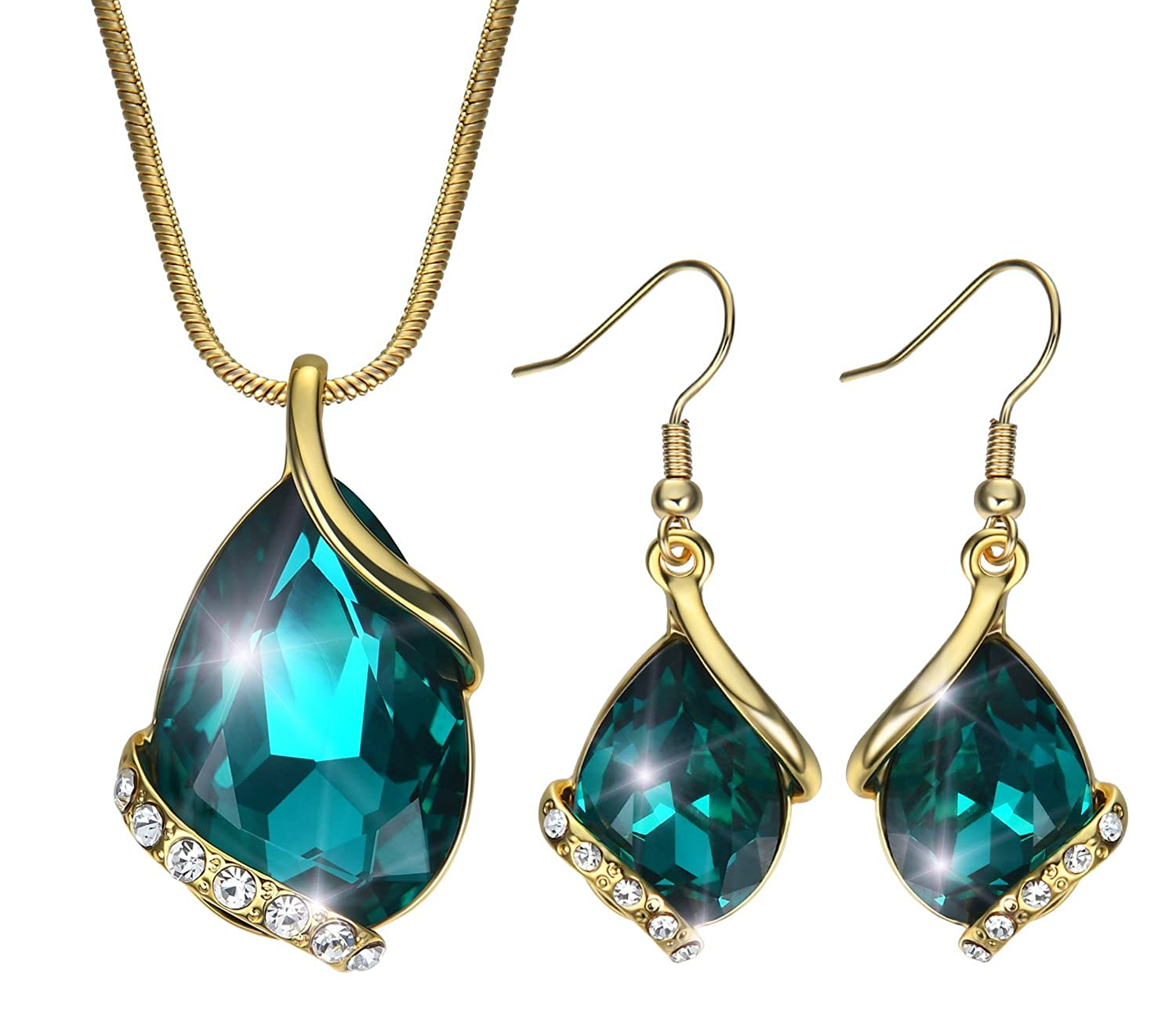 Akvode 18K Gold Plated Cubic Zirconia Swarovski Teardrop Pendant Jewelry Set Womens Necklace Earring Green