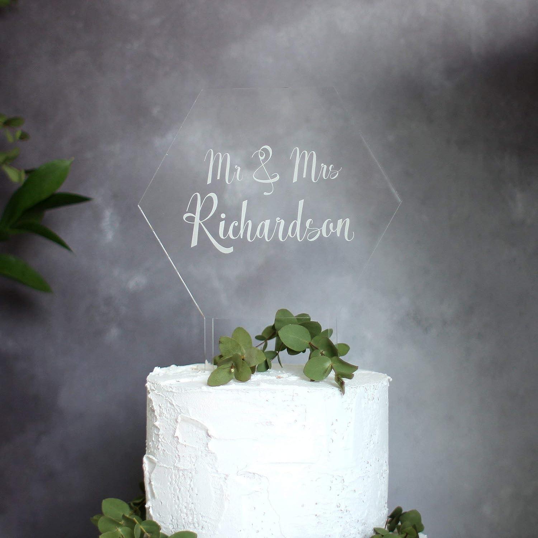 Personalised Acrylic Cake Topper - Hexagon Cake Toppers - Wedding Cake Topper - Anniversary Cake Topper - Mr & Mrs Cake Topper