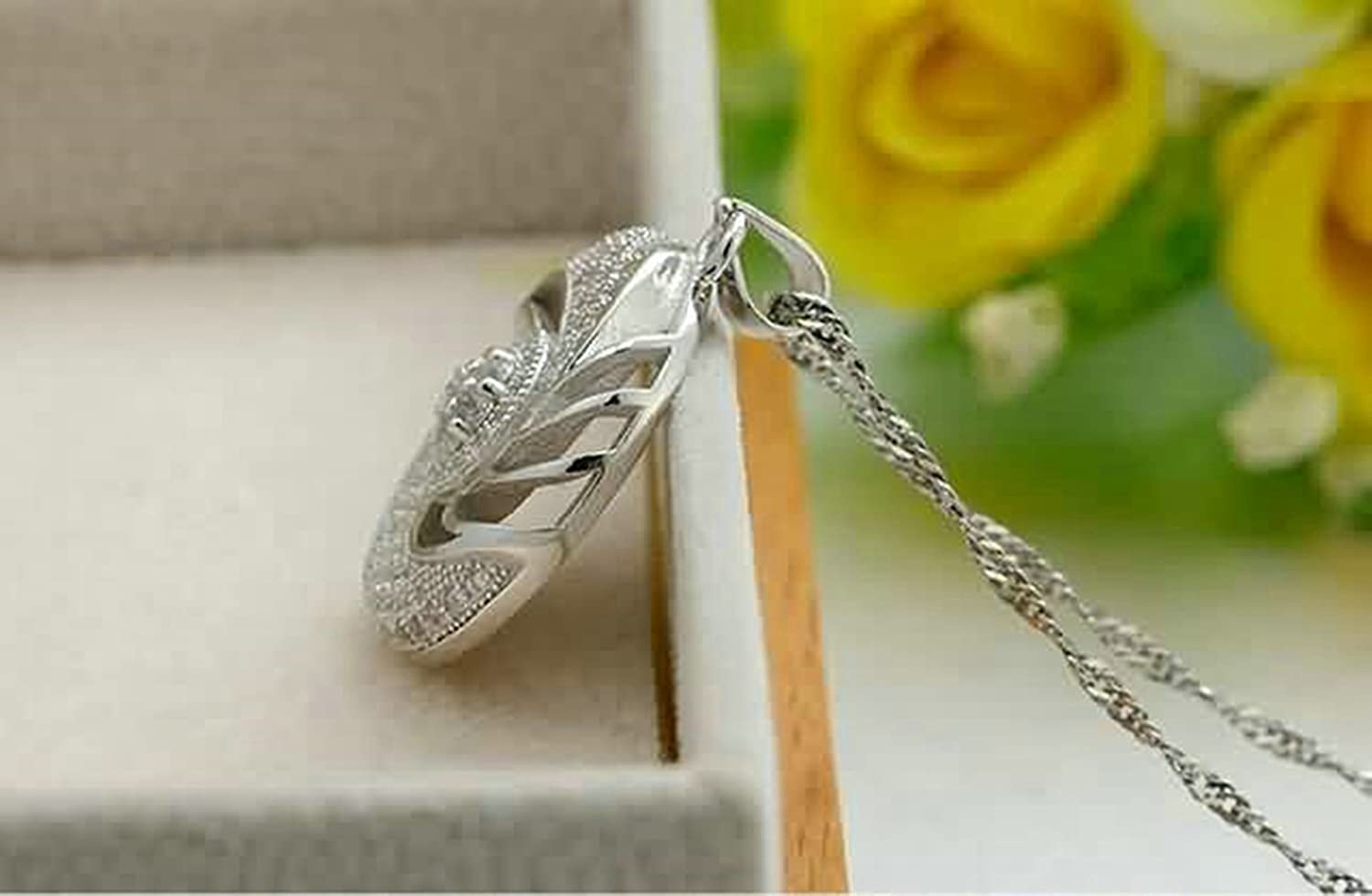 AMDXD Jewelry Women Silver Plated Pendant Necklaces Wave Round White 2X2.4CM