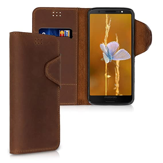 sports shoes 72c73 44bae kalibri Wallet Case for Motorola Moto G6 - Genuine Leather Book Style  Protective Cover with Card Slot - Brown