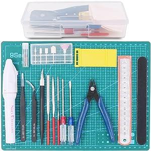 Rustark 19Pcs Modeler Basic Tools Craft Set Hobby Building Tools Kit for Gundam Professional Model Assemble Building
