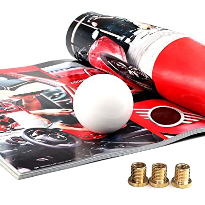 Top10 Racing White Round Ball Gear Shift Knob Universal Shifter Knobs with 3 Adapters Stick Shifter: Automotive