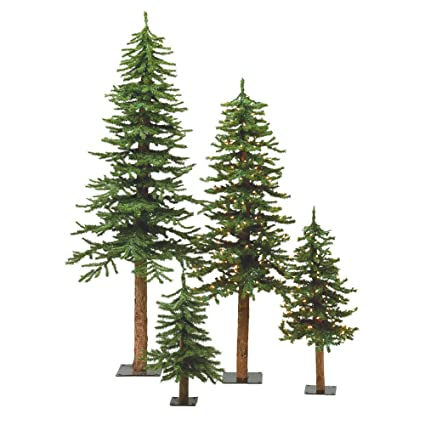 Amazon.com: Set of Three Artificial Natural Alpine Christmas Trees ...