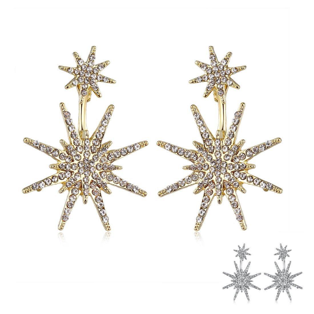 Star Stud Unique Christmas Dangle Earrings for Women Fashion Wedding Ear Jacket Jewelry (Gold&Silver)