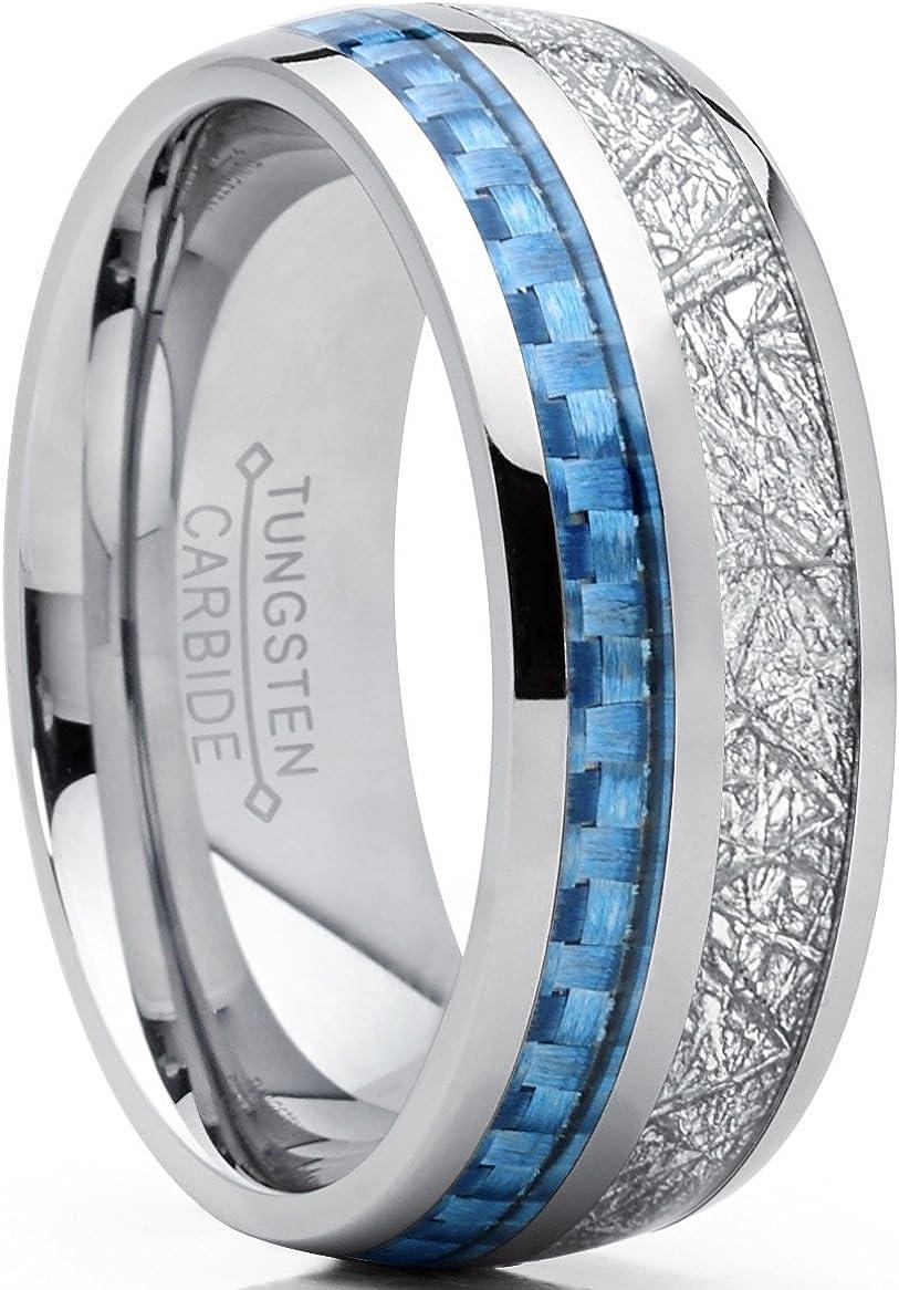 Bague Unisexe en Tungst/ène Design Comfort Fit pour Mariage Quotidien et Anniversaire Nuncad Bague 8mm Multicolore avec Opale et Coquillage Taille 54 /à 67 14-27