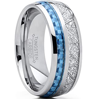 8mm Mens Tungsten Carbide Wedding Band Engagement Ring With Baby Blue