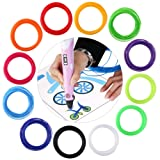 FOXNOVO 12pcs 3D Pen Filament 1.75mm PLA Filament,10m In Different Colors ,Included 10 Pages of Stencils Book