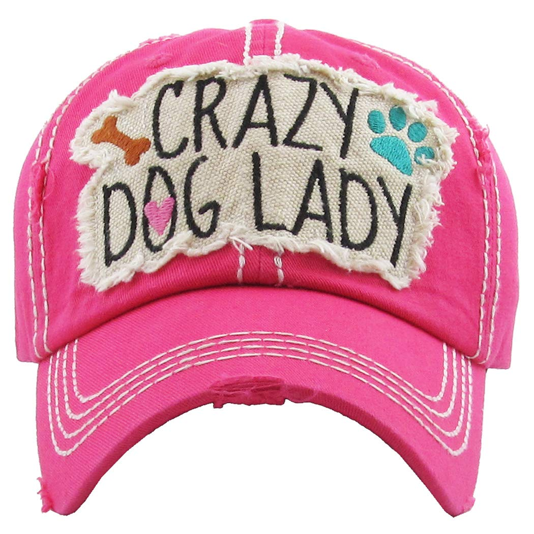 Crazy Dog Lady  Hot Pink Funky Junque Womens Baseball Cap Distressed Vintage Unconstructed Embroidered Dad Hat