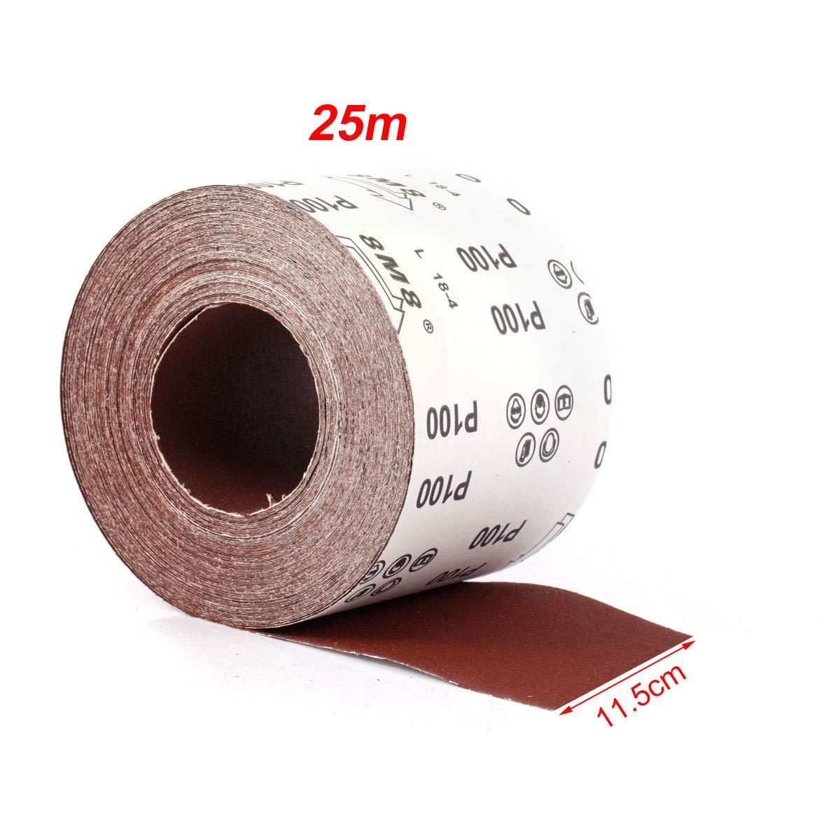 Grana 240,1 Rotolo di Carta Vetrata per Levigatrice Orbitale Rosso SurePromise Dischi Abrasivi con Velcro 25 m x 115 mm