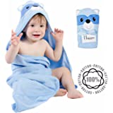 Happer Baby Hooded Baby Towel for Bath Beach Boys and Girls 100% Cotton - Blue