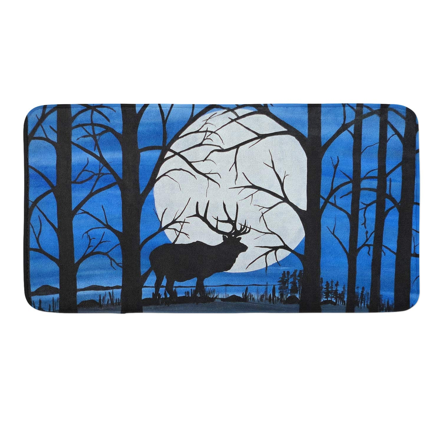 CIGOCI Memory Foam Non-Slip Bathroom Mat - 18 x 36 Inch, Extra Absorbent,Soft,Duarable and Quick-Dry Shaggy Mat, 3D PrintStranger Galaxy Starry Moose Trees Thing