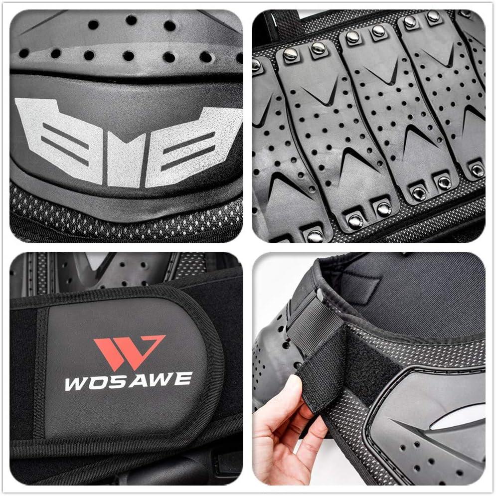 WOSAWE Veste de Protection de Moto Kid R/éfl/échissant Armure Gilet Motocross Armour Retour Support de Protection Vestes de Protection Garde Chemise pour Snowboard S