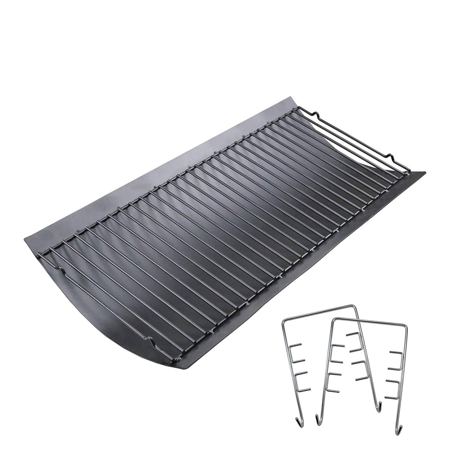 Uniflasy 27 Inches Ash Pan/Drip Pan for Chargriller 1224, 1324, 2121, 2222, 2727, 2828, 2929 Charcoal Grills, Charbroil 17302056 Grill Grates Replacement Part with 2pcs Fire Grate Hanger by Uniflasy