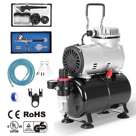 Ausuc - Kit de aerógrafo Profesional compresor aerógrafo Set con compresor con Recipiente de Aire (