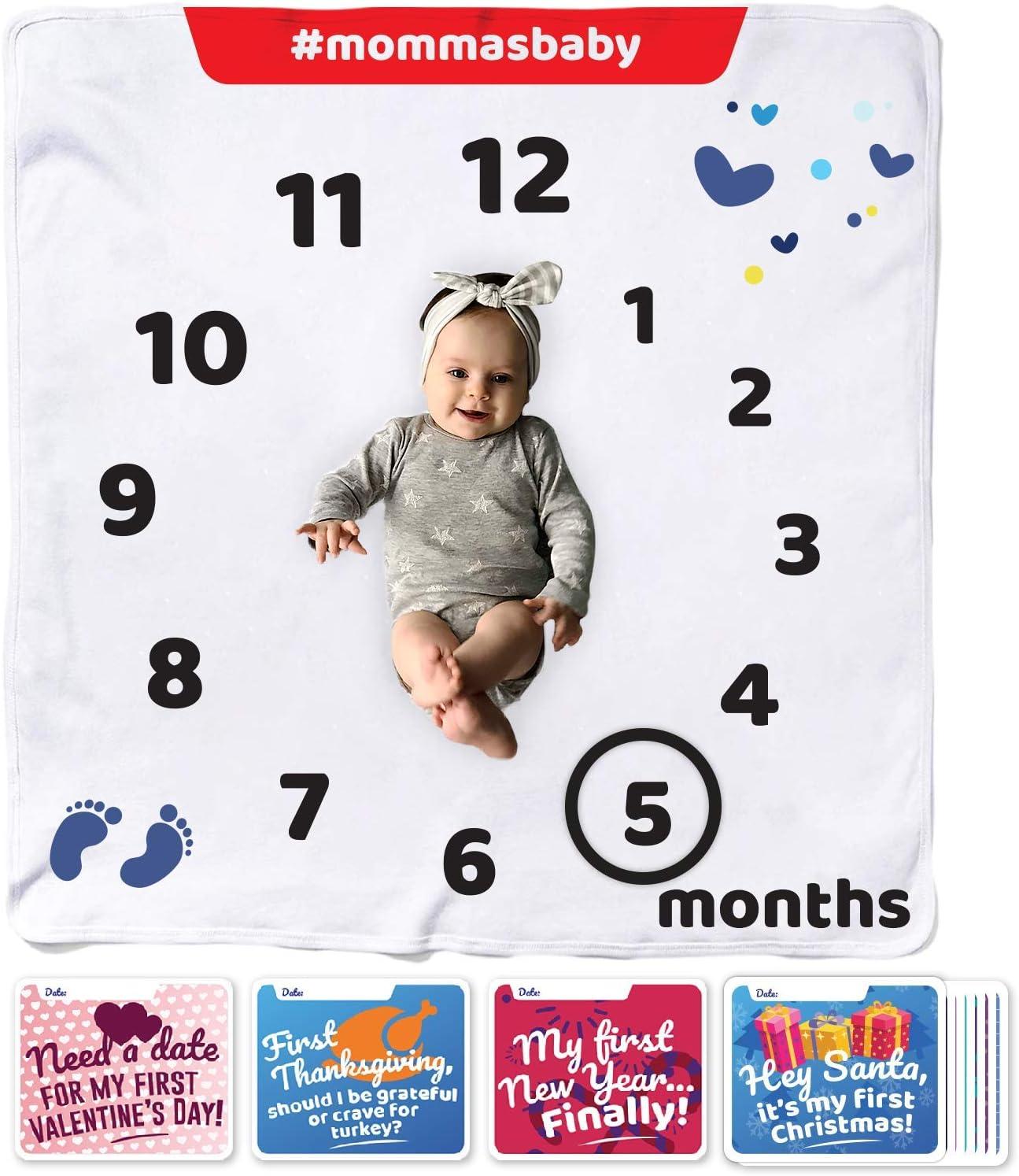 Manta de Franela orgánica mensual para bebé, diseño Unisex, 12 Tarjetas y Marcador, Set de 1 a 12 Meses, Manta de fotografía Personalizada para bebé niño y niña