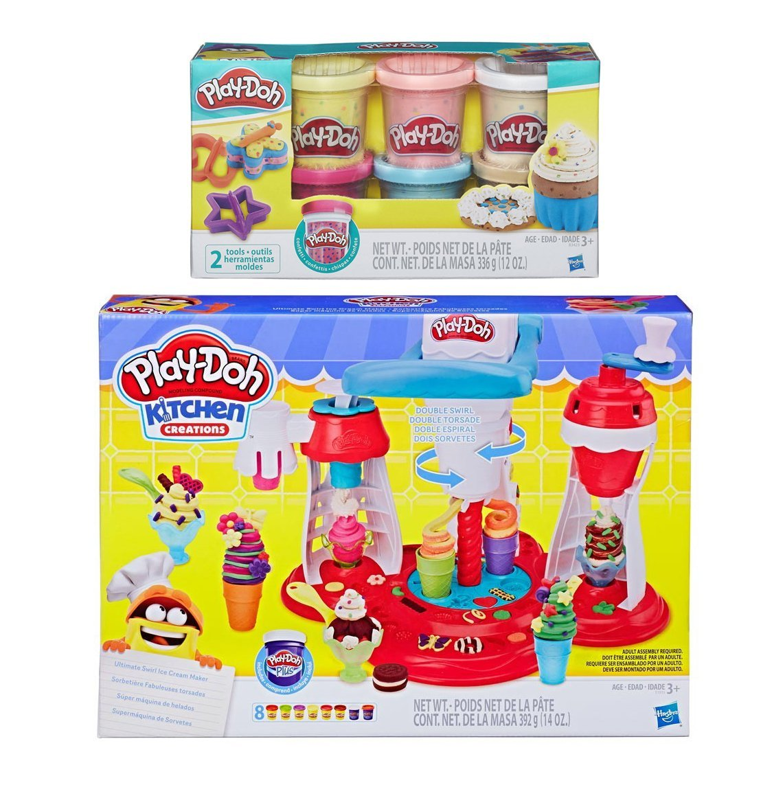 Play-Doh Kitchen Creations Ultimate Swirl Ice Cream Maker + Play-Doh Confetti Compound Bundle PD