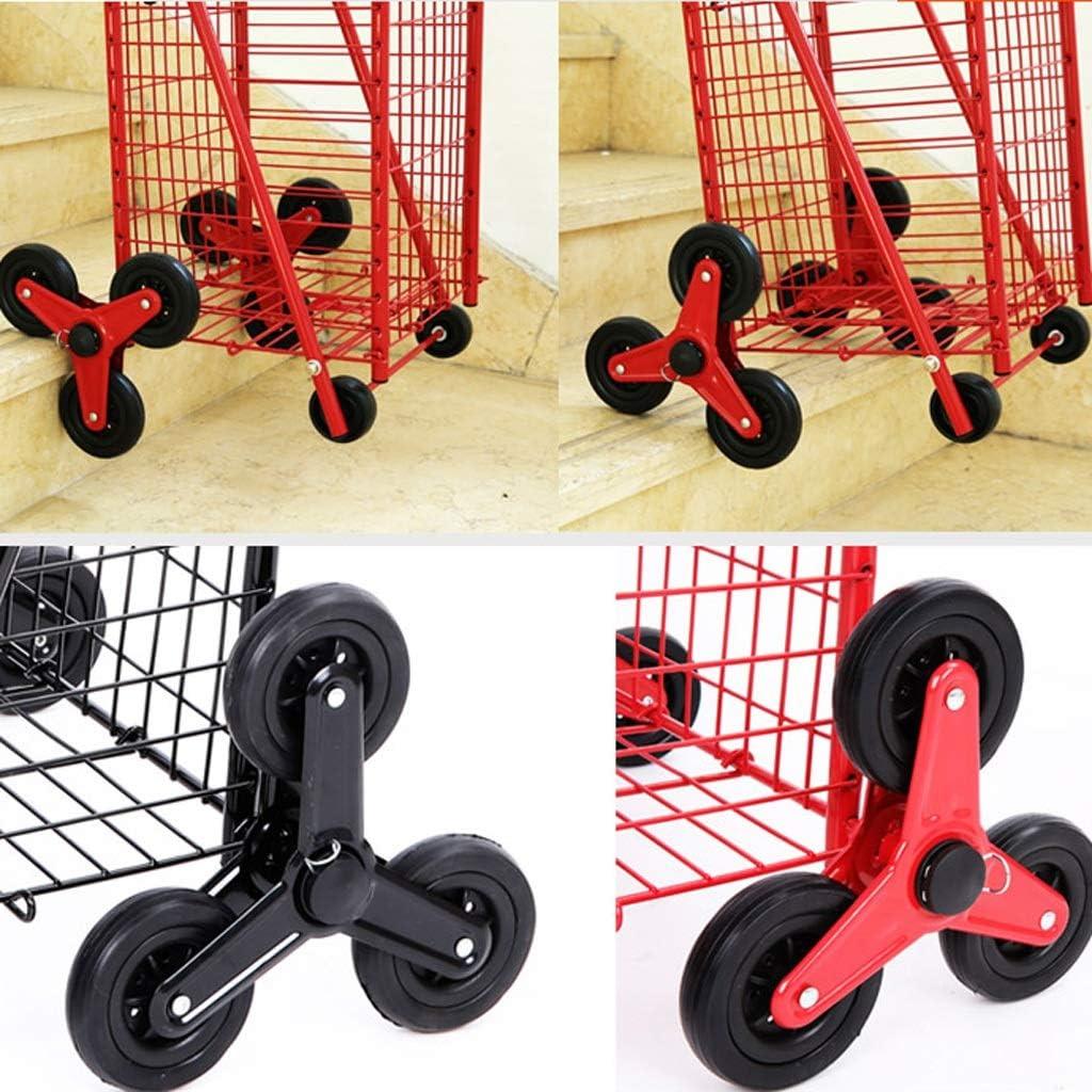 Color : Black Xxw lamp Climbing Shopping Cart Folding Shopping Cart Trolley Cart Trolley Cart Trolley Home Supermarket Luggage Trailer