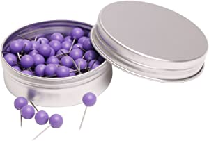 Tupalizy 100PCS 1/4 Inch Small Round Head Map Tacks Pins for Home Office Bulletin Cork Board Use and DIY Craft Project (Purple)
