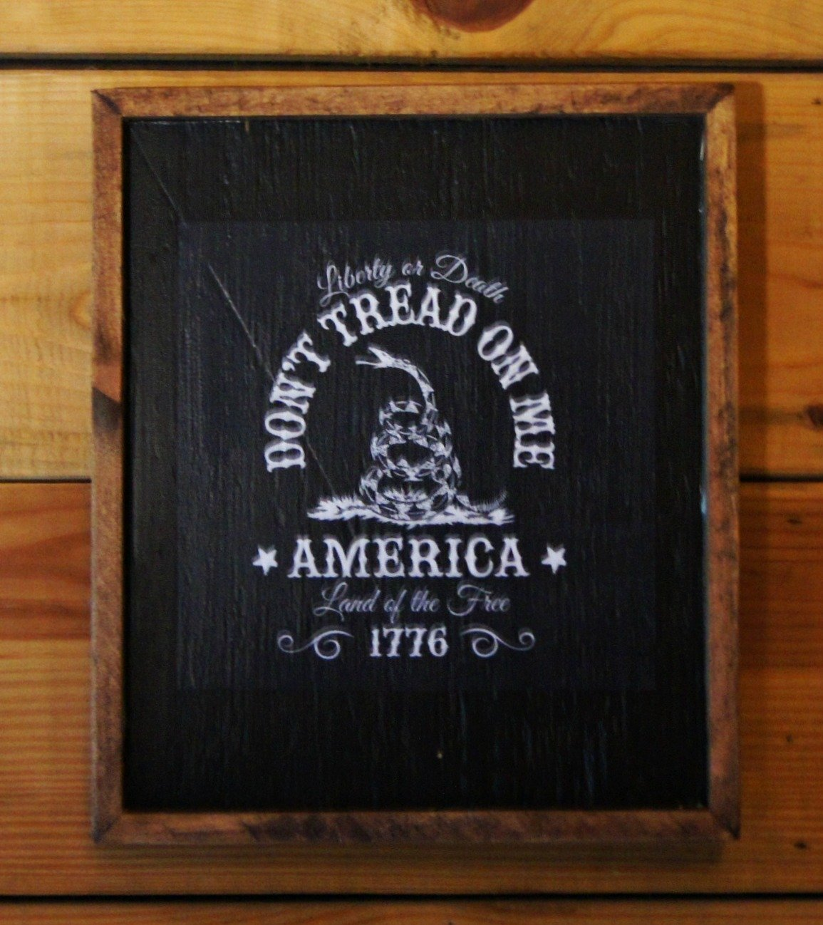 Framed Don't Tread on Me America 1776 wooden Sign