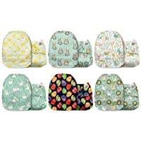 Mama Koala One Size Baby Washable Reusable Pocket Cloth Diapers, 6 Pack Cloth Nappies Without Inserts (Easter Morning)