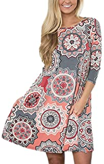 8a272a702daf4 Summer Tshirt Dresses for Women Beach Sundresses Boho Casual 3 4 Sleeve  Floral Shift Pockets