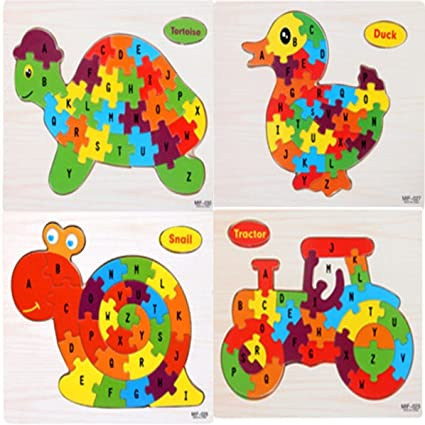 Akrobo 4pc Wodden Puzzle Toy With A-Z English Alphabet, Puzzle For Kids Ages 3+ Years