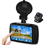 """Dual Dash Cam, 4.0"""" Touch Screen Z-EDGE Ultra HD 1440P Front, and 1080P Rear, 155 Degree Wide Angle, Dual Lens Car Camera, Front and Rear Dash Cam, Dashboard Camera WDR, 32GB Card Included"""