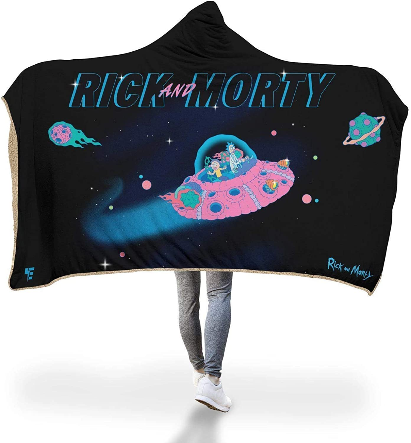 Retro Rick and Morty Hooded Blanket