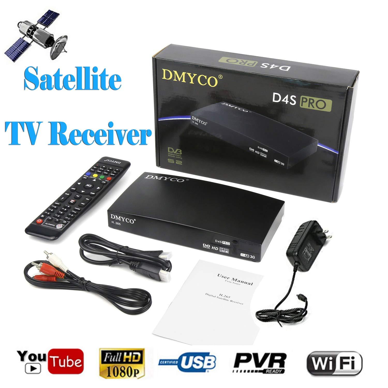 DMYCO Satellite Receiver, TV Receiver Digital FTA TV Satellite Finder DVB S2 LNB Tuner SAT Decoder Support Full HD 1080P H.265 MPEG-5 PVR YouTube (D4S Pro)