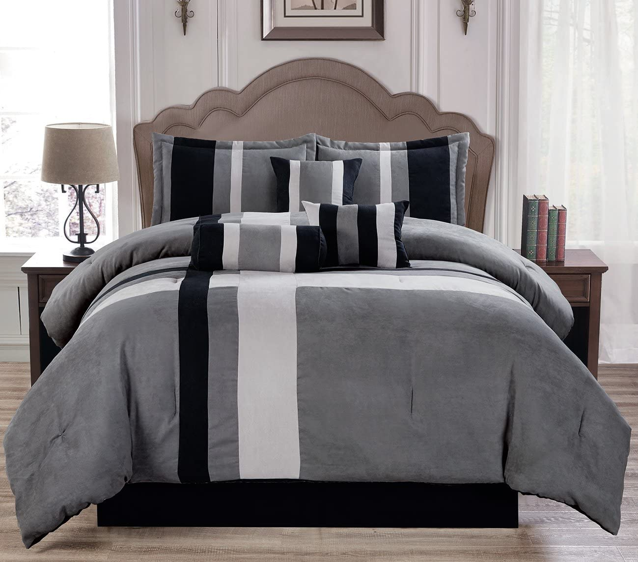 Empire Home luxurious 7 Piece Micro Suede Soft Comforter Set - Bed in a Bag (Queen Size, Black & Gray)