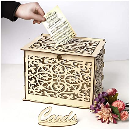 Diy Wooden Wedding Card Box Hollow Wedding Money Box Gift Card Holder Card Box With Lock And Card Sign Perfect For Graduation Reception Wedding