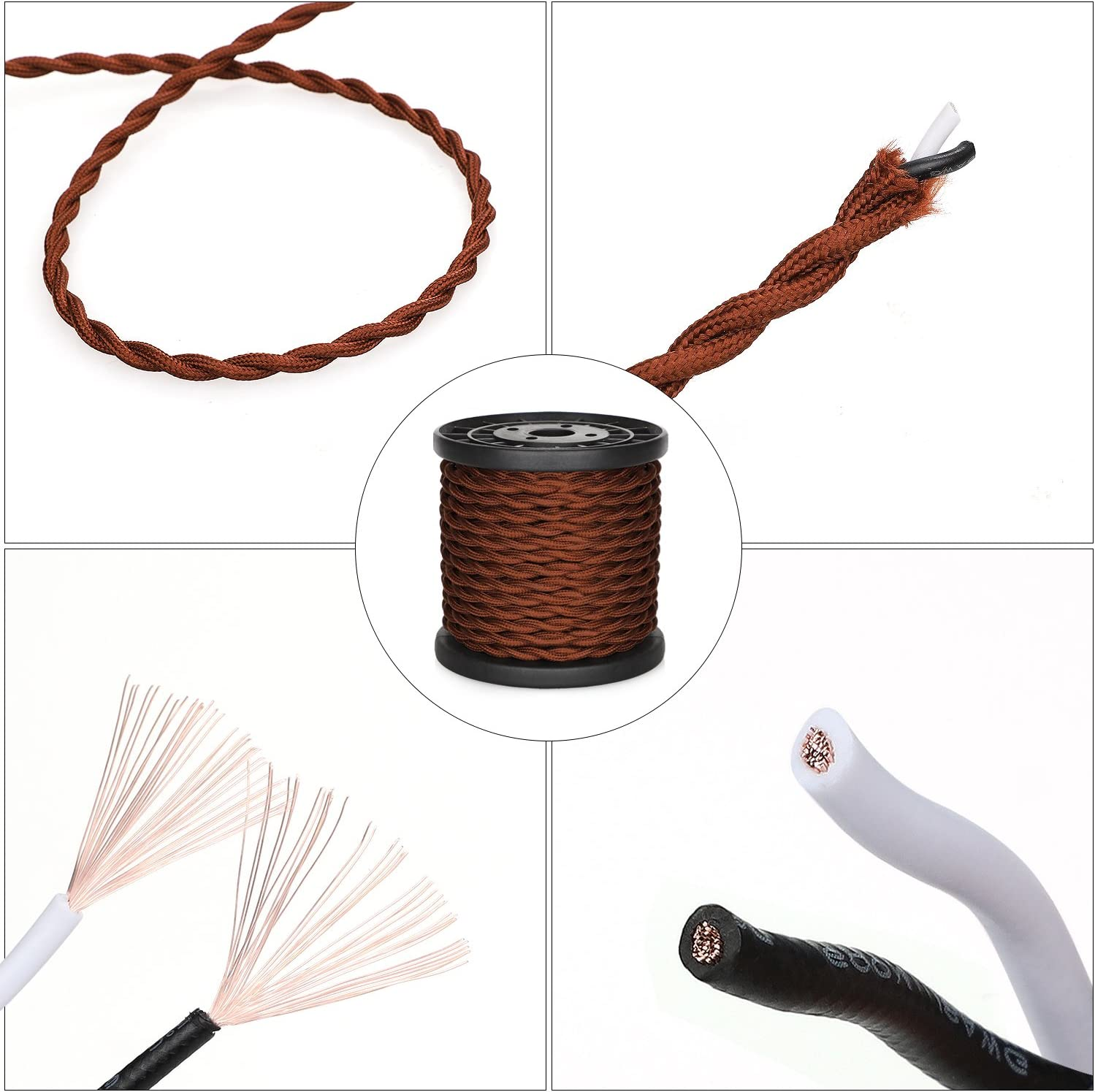 UL Listed 32.8ft Twisted Cloth Covered Wire Brown Carry360 Antique Industrial Electronic Wire 18-Gauge 2-Conductor Vintage Style Fabric Lamp//Pendant Cloth Cord Cable