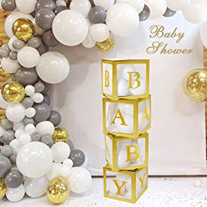 Baby Shower Decorations Gold Transparent Balloons Decor Baby Box Baby Blocks Decorations for Baby Shower Boy Girl 1st Birthday Party Decorations by QIFU (Gold Transparent Baby Blocks)